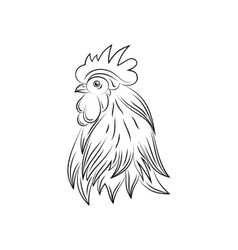 Head of Rooster Hand Drawn Style vector image