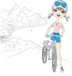 Hipster girl tourist with bicycle vector