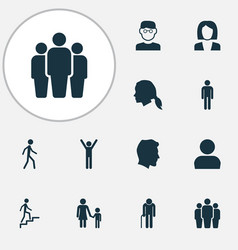 human icons set collection of ladder grandpa vector image vector image