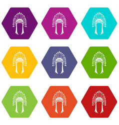 indian headdress icon set color hexahedron vector image vector image