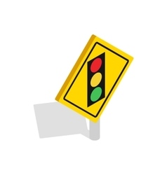 Light traffic sign icon isometric 3d style vector