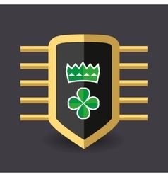 Magic shield crown and a quatrefoil clover vector