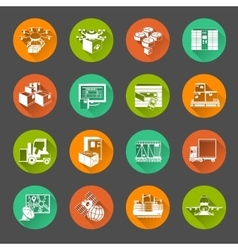 New logistics flat circle icons set vector