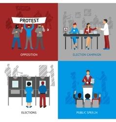 Politics concept icons set vector