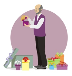 Present for old man vector image vector image