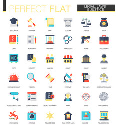set of flat law legal and justice icons vector image vector image