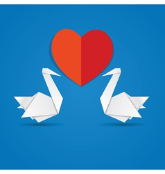Swans and red heart3 vector image vector image
