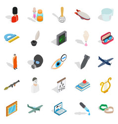 Thriller icons set isometric style vector
