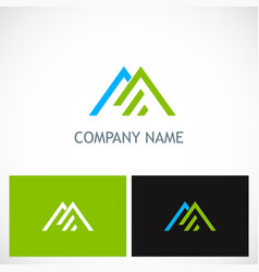 Triangle line roof company logo vector