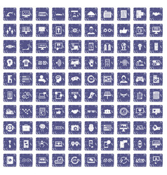100 interface icons set grunge sapphire vector