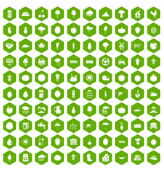 100 productiveness icons hexagon green vector