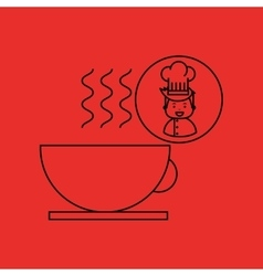 Cartoon chef gourmet hot cup coffee vector