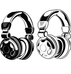 Headphones one color drawings vector