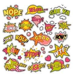 Badges stickers comic speech bubbles set vector