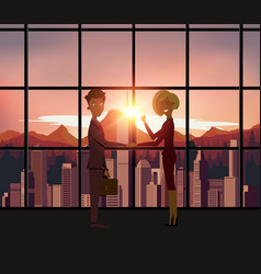 silhouette business people handshake with city vector image