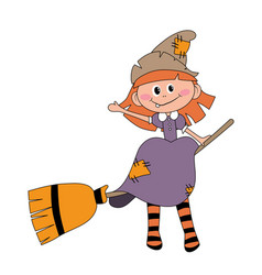 befana sitting on a broomstick ugly witch vector image
