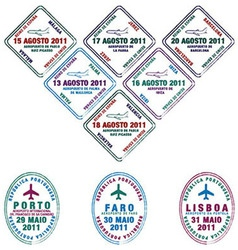 Spain passport stamps vector