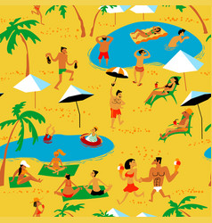 summer beach people seamless pattern tropical vector image