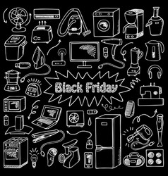 Black friday household doodle set vector