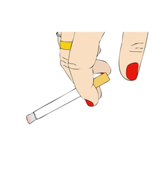 Female hand with cigarette vector