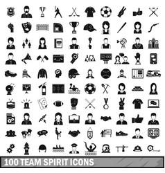 100 team spirit icons set simple style vector