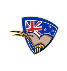 Kiwi bird new zealand flag shield retro vector