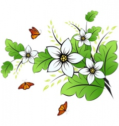 Flower background with butterfly vector