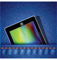 Tablet computer on jeans background vector
