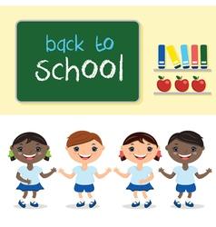 Kids in school classwith school board with text vector