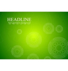 Bright green hi-tech background with gears vector