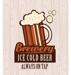 Beer on wooden boards vector