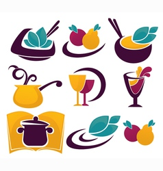 decorative food and drinks vector image