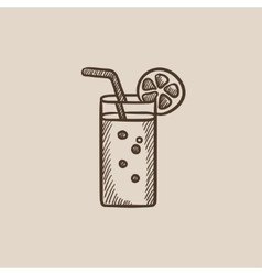 Glass with drinking straw sketch icon vector
