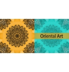 Invitation cover based on oriental art print yoga vector