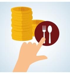 Menu design coin icon restaurant concept vector image