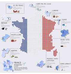 Dot and flag map of france infographic design vector
