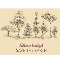 Line of trees Save the Earth card vector image