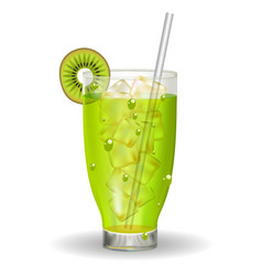 a glass of kiwi juice with ice and a straw vector image vector image