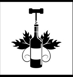 Bottle of wine with take out cork icon vector