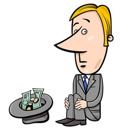 Businessman beggar cartoon vector