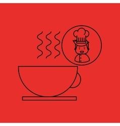 cartoon chef gourmet hot cup coffee vector image