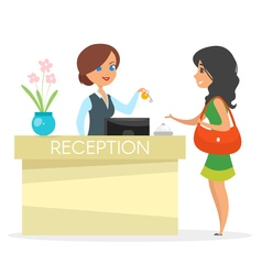 cartoon style of hotel reception vector image