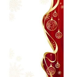 Christmas background with gold ribbon vector