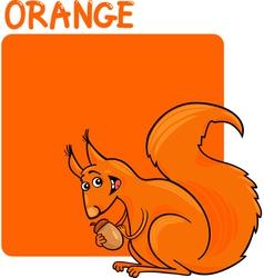 Color Orange and Squirrel Cartoon vector image vector image