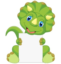Cute dinosaur cartoon holding blank sign vector image vector image