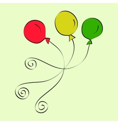 Doodle purple and yellow balloons vector image