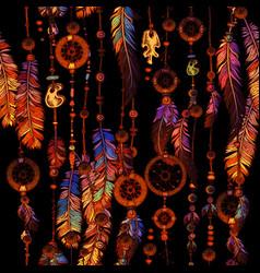 dream catcher for tribal boho seamless pattern vector image