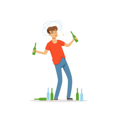 Drunk man standing among empty bottles on the vector
