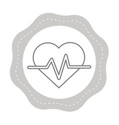 Figure sticker heartbeat cardio vital sign vector