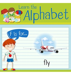 Flashcard letter F is for fly vector image